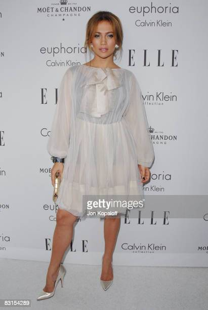 """Actress Jennifer Lopez arrives at """"Elle Magazine's 15th Annual Women in Hollywood Tribute"""" at the Four Seasons Hotel on October 6, 2008 in Beverly..."""