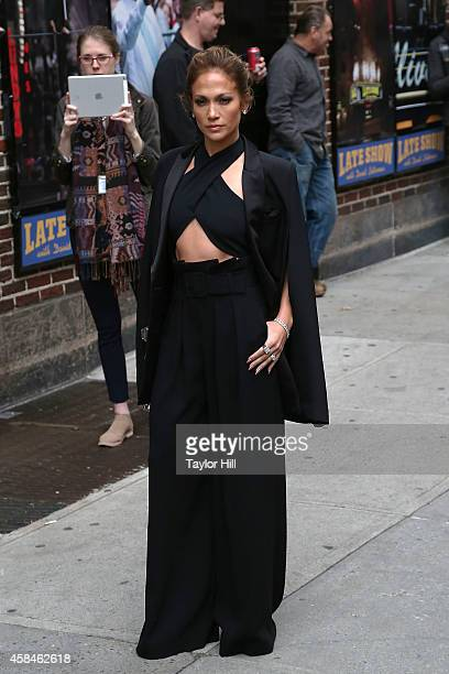 """Actress Jennifer Lopez arrives at """"Late Show with David Letterman"""" at Ed Sullivan Theater on November 5, 2014 in New York City."""