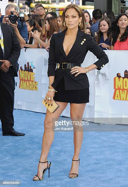 Actress Jennifer Lopez arrives at the 2015 MTV Movie Awards at Nokia Theatre LA Live on April 12 2015 in Los Angeles California