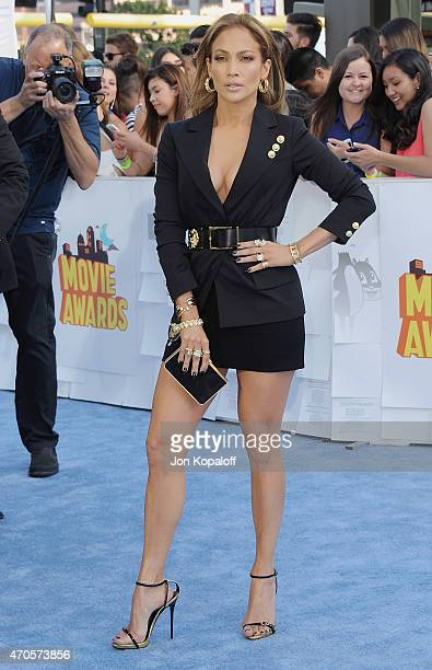 Actress Jennifer Lopez arrives at the 2015 MTV Movie Awards at Nokia Theatre L.A. Live on April 12, 2015 in Los Angeles, California.