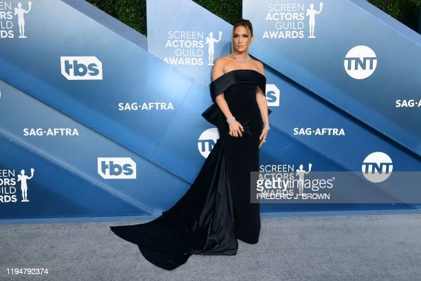 Actress Jennifer Lopez arrives for the 26th Annual Screen Actors Guild Awards at the Shrine Auditorium in Los Angeles on January 19, 2020.