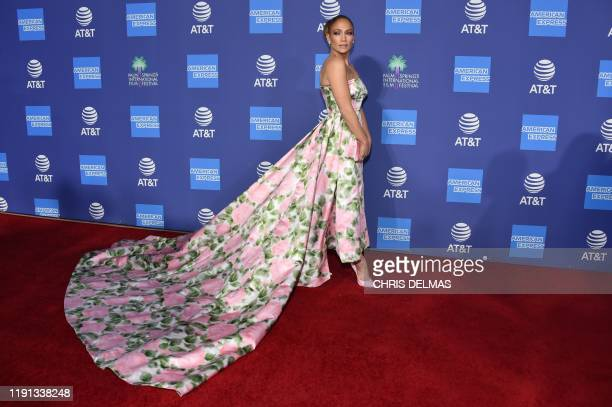 US actress Jennifer Lopez arrives for the 31st Annual Palm Springs International Film Festival Awards Gala at the Convention Center in Palm Springs...