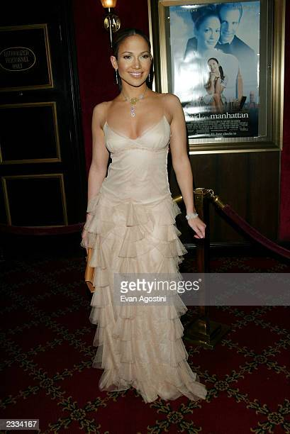 "Actress Jennifer Lopez arriving at the ""Maid In Manhattan"" world premiere at The Ziegfeld Theatre, New York City. December 8, 2002. Photo by Evan..."