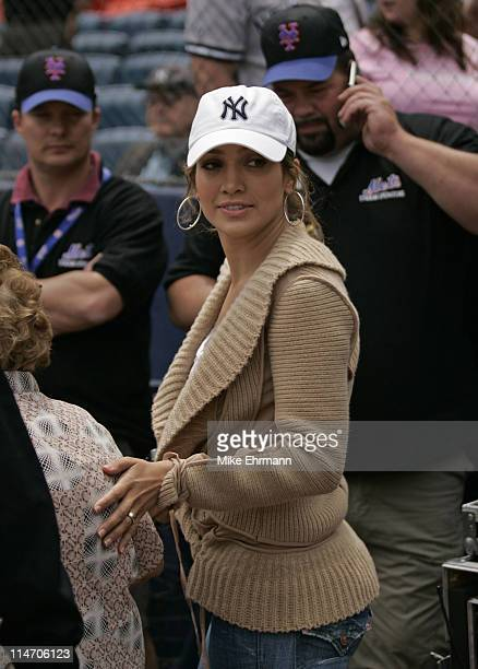Actress Jennifer Lopez attends a subway series game between the New York Mets and the New York Yankees at Shea Stadium in Queens New York on Saturday...