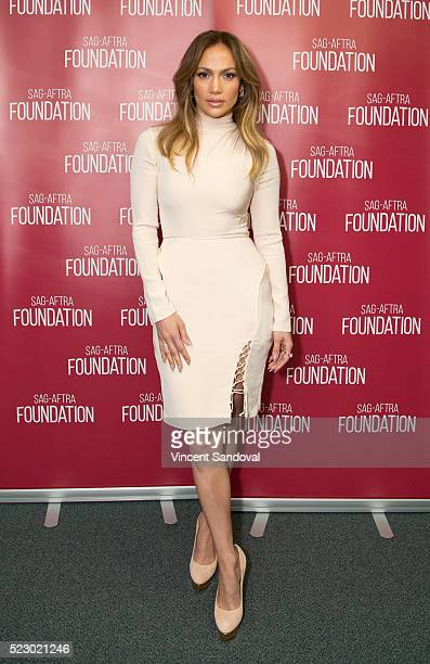 Actress Jennifer Lopez attends SAGAFTRA Foundation Conversations with Jennifer Lopez for 'Shades Of Blue' at SAGAFTRA Foundation on April 21 2016 in...