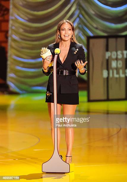 Actress Jennifer Lopez attends the 2015 MTV Movie Awards show at Nokia Theatre LA Live on April 12 2015 in Los Angeles California