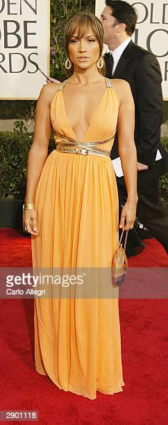 Actress Jennifer Lopez attends the 61st Annual Golden Globe Awards at the Beverly Hilton Hotel on January 25 2004 in Beverly Hills California