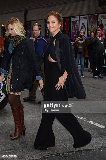 """Actress Jennifer Lopez enters the """"Late Show With David Letterman"""" taping at the Ed Sullivan Theater on November 5, 2014 in New York City."""