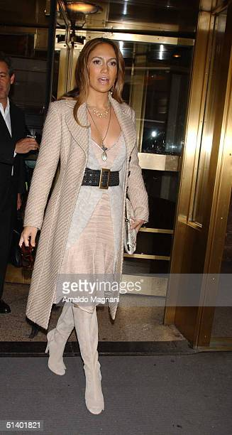 Actress Jennifer Lopez leaves a media promotion at the Essex House for her new film Shall We Dance October 4 2004 in New York City