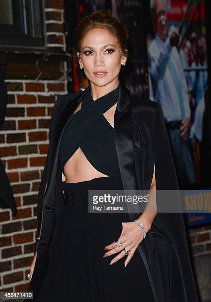 """Actress Jennifer Lopez leaves the """"Late Show With David Letterman"""" taping at the Ed Sullivan Theater on November 5, 2014 in New York City."""