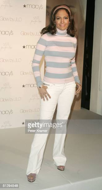 Actress Jennifer Lopez makes an appearance at Macy's Herald Square to promote the JLO Ultimate Makeover Sweepstakes on September 12, 2004 in New York...