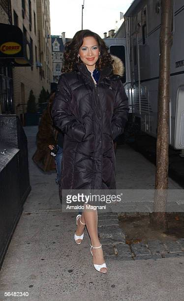 Actress Jennifer Lopez walks to the set of the movie El Cantante December 22 2005 in New York City