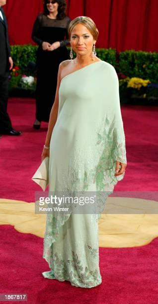Actress Jennifer Lopez wearing Harry Winston jewelry attends the 75th Annual Academy Awards at the Kodak Theater on March 23 2003 in Hollywood...