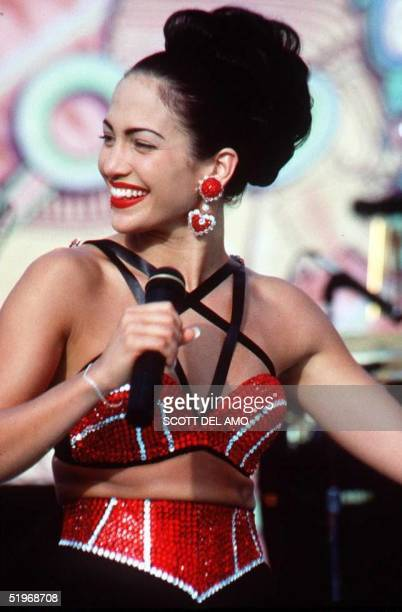"Actress Jennifer Lopez, who plays Selena in the movie ""Selena,"" performs in one of the scenes from the movie. ""Selena"" is about the tejano singer who..."