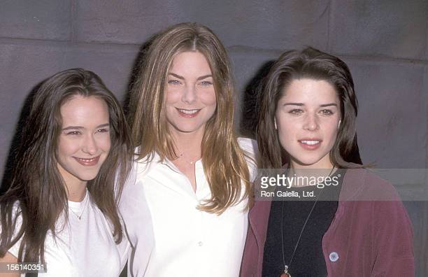 Actress Jennifer Love Hewitt Actress Paula Devicq and Actress Neve Campbell attend the 'Party of Five' Meet and Greet on February 17 1996 at...