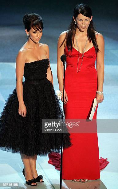 Actress Jennifer Love Hewitt and Lauren Graham present onstage at the 57th Annual Emmy Awards held at the Shrine Auditorium on September 18 2005 in...