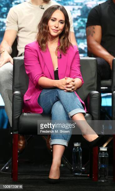 """Actress Jennifer Love Hewitt of the television show """"911"""" speaks during the FOX segment of the Summer 2018 Television Critics Association Press Tour..."""
