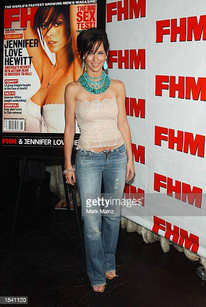 Actress Jennifer Love Hewitt poses at the FHM Magazine party May 9 2002 in New York City Hewitt appears on the cover of the June 2002 issue
