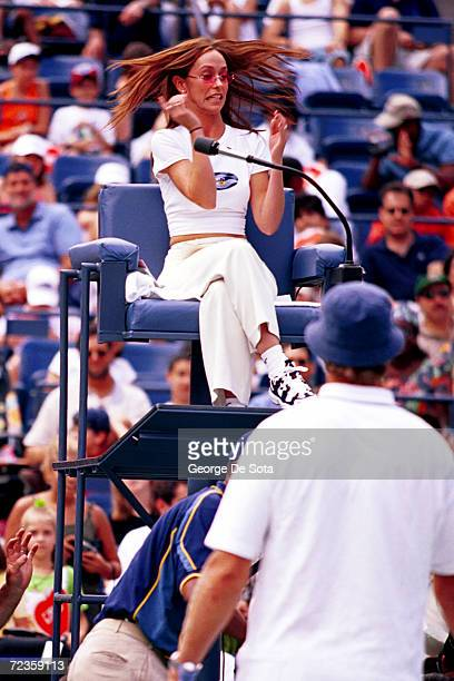 Actress Jennifer Love Hewitt serves as an official at the Arthur Ashe Kid's Day Family and Music Festival August 26 2000 in the USTA National Tennis...