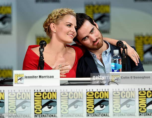 Actress Jennifer Morrison and actor Colin O'Donoghue attend ABC's 'Once Upon a Time' panel during ComicCon International 2014 at the San Diego...