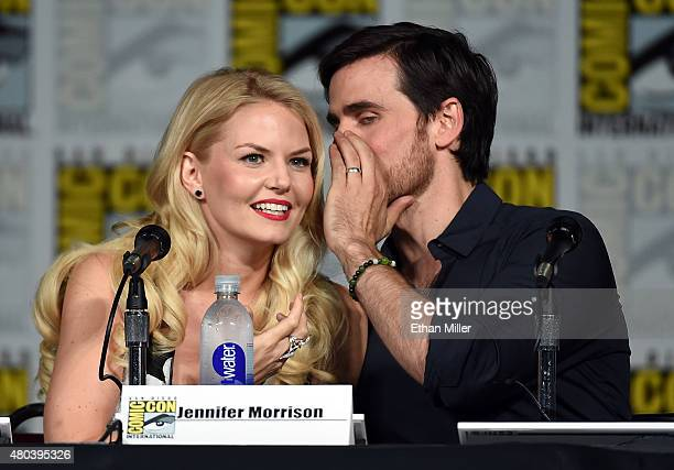 Actress Jennifer Morrison and actor Colin O'Donoghue attend the 'Once Upon a Time' panel during ComicCon International 2015 at the San Diego...