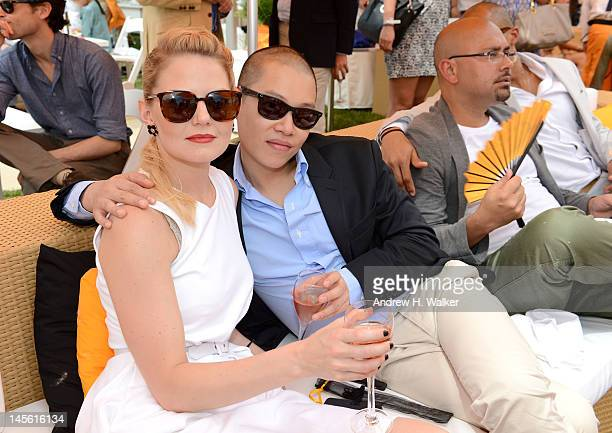 Actress Jennifer Morrison and designer Jason Wu pose at the VIP Marquee during the fifth Annual Veuve Clicquot Polo Classic on June 2 2012 in Jersey...