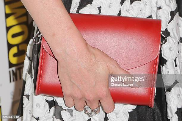 Actress Jennifer Morrison, clutch detail, arrives at the 'Once Upon a Time' press room on July 11, 2015 in San Diego, California.