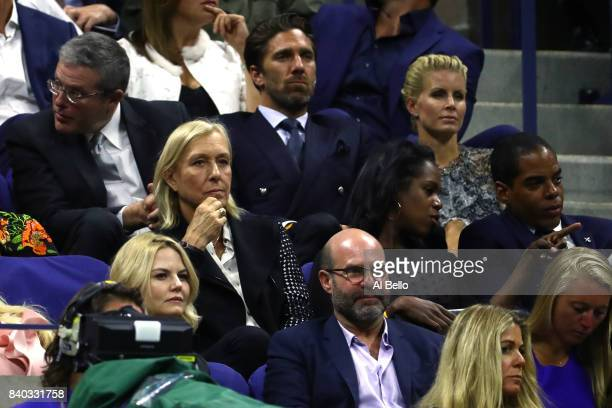 Actress Jennifer Morrison former tennis player Martina Navratilova NHL's Ice Hockey Goaltender Henrik Lundqvist and his wife Therese Andersson watch...