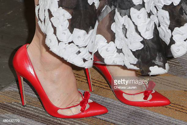 Actress Jennifer Morrison, shoe detail, arrives at the 'Once Upon a Time' press room on July 11, 2015 in San Diego, California.