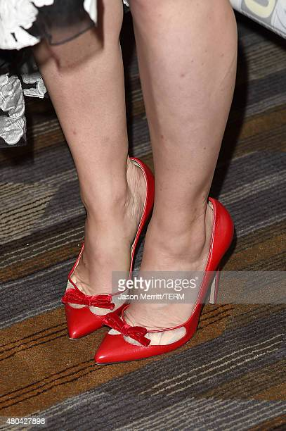 """Actress Jennifer Morrison, shoe detail, attends the """"Once Upon A Time"""" press room during Comic-Con International 2015 at the Hilton Bayfront on July..."""