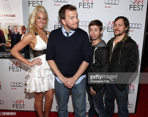 Actress Jennifer Shakeshaft filmmaker Clay Liford actors Nate Rubin and Jonny Mars arrive at the Carnage special screening during AFI FEST 2011...