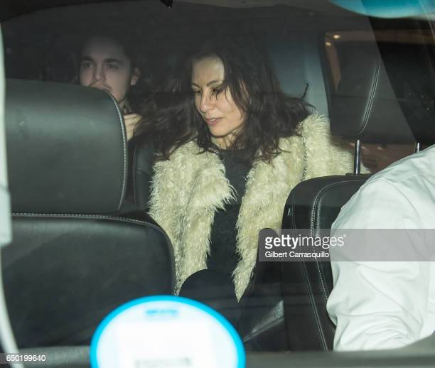 Actress Jennifer SkliasGahan and singer Ray Figliulo of Last Shelter band are seen leaving 'TimesTalks Presents Depeche Mode' at Jack H Skirball...