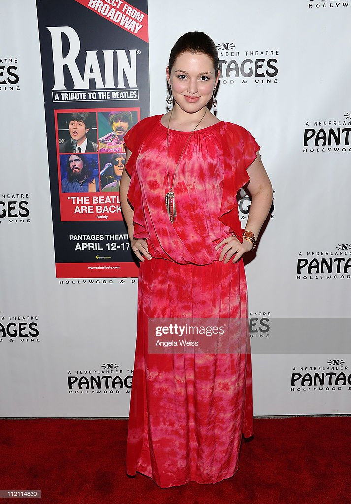 Actress Jennifer Stone arrives at the opening night of 'Rain- A Tribute To The Beatles' at the Pantages Theatre on April 12, 2011 in Hollywood, California.