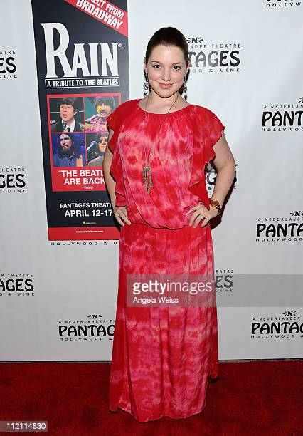 Actress Jennifer Stone arrives at the opening night of 'Rain A Tribute To The Beatles' at the Pantages Theatre on April 12 2011 in Hollywood...