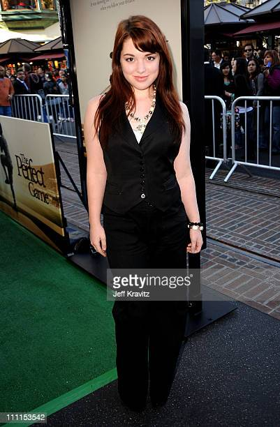 Actress Jennifer Stone arrives to the Los Angeles premiere of The Perfect Game in the Pacific Theaters at the Grove on April 5 2010 in Los Angeles...