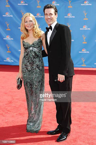 Actress Jennifer Westfeldt and actor Jon Hamm arrive at the 62nd Annual Primetime Emmy Awards held at the Nokia Theatre LA Live on August 29 2010 in...