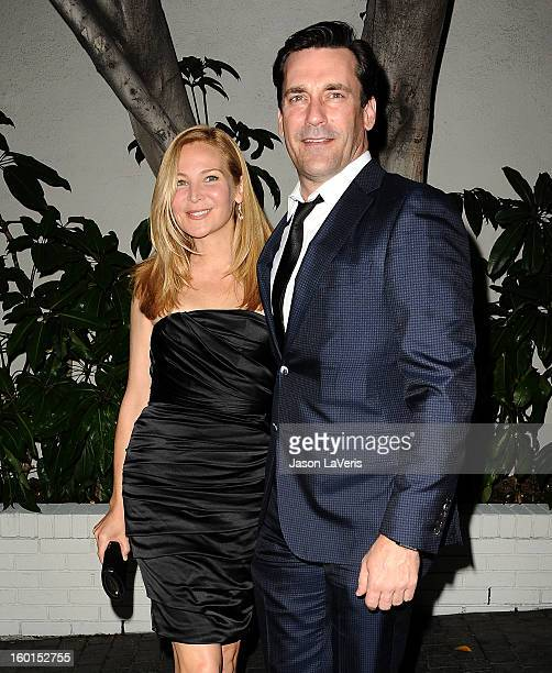Actress Jennifer Westfeldt and actor Jon Hamm attend the Entertainment Weekly Screen Actors Guild Awards preparty at Chateau Marmont on January 26...