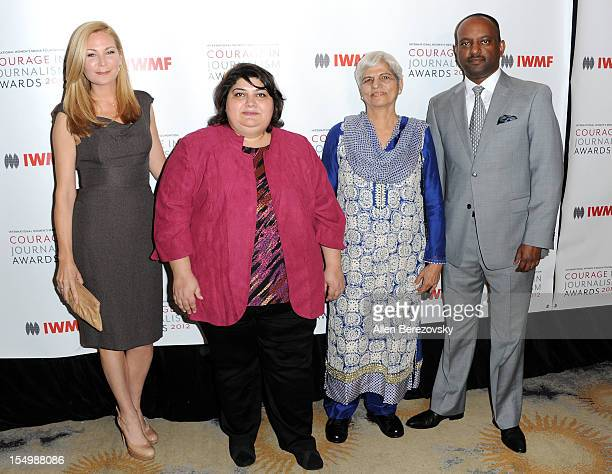 Actress Jennifer Westfeldt honorees Khadija Ismayilova and Zubeida Mustafa and journalist Elias Wondimu arrive at the 2012 Courage in Journalism...