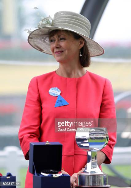 Actress Jenny Agutter awaits the medal presentation for the Albany Stakes on day four of the Royal Ascot Meeting at Ascot Racecourse Berkshire