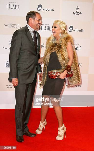 Actress Jenny ElversElbertzhagen and husband Goetz Elbertzhagen attend the Tribute to Bambi 2011 at the Station on September 23 2011 in Berlin Germany