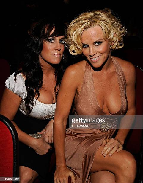 Actress Jenny McCarthy and guest pose backstage during the Grand Opening Weekend Celebration at MGM Grand at Foxwoods Resort Casino on May 17 2008 in...