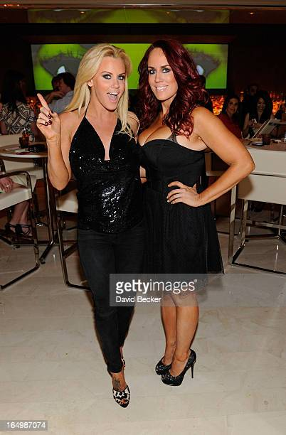 Actress Jenny McCarthy and her sister JoJo McCarthy celebrate the renewal of The Jenny McCarthy Show at Andrea's at Encore Las Vegas on March 29 2013...