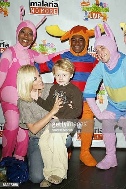 Actress Jenny McCarthy and her son Evan Asher and Backyardigans attend the Breakfast Benefit For Malaria No More on November 1 2008 in Los Angeles...