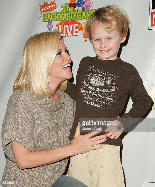 Actress Jenny McCarthy and her son Evan Asher attend Backyardigans Live breakfast benefit for Malaria No More at The Nokia Theater on November 1 2008...