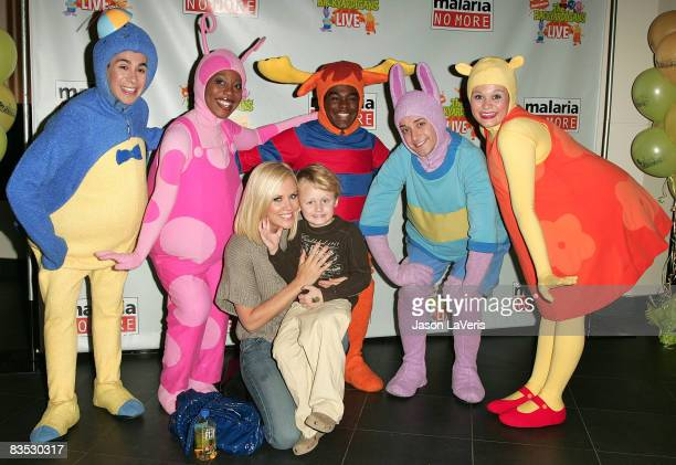 Actress Jenny McCarthy and her son Evan Asher pose with the Backyardigans at Backyardigans Live breakfast benefit for Malaria No More at The Nokia...