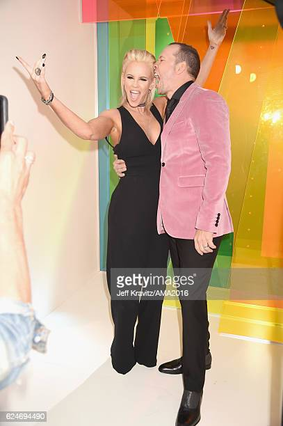 Actress Jenny McCarthy and singer Donnie Wahlberg attend the 2016 American Music Awards at Microsoft Theater on November 20, 2016 in Los Angeles,...