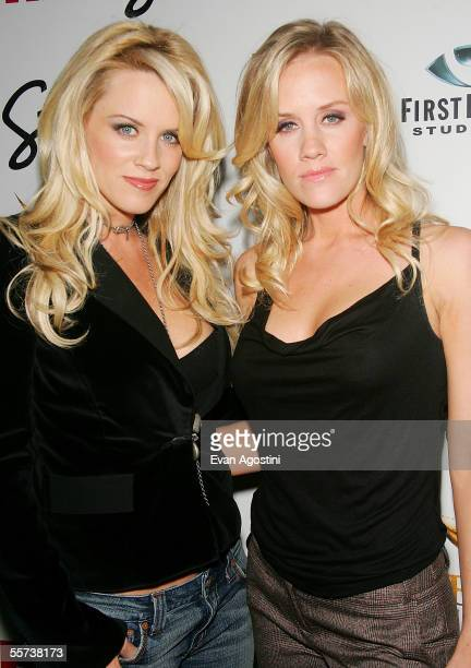 Actress Jenny McCarthy and sister Amy McCarthy arrive at a party cohosted by FHM Magazine to celebrate Jenny's new film Dirty Love September 21 2005...