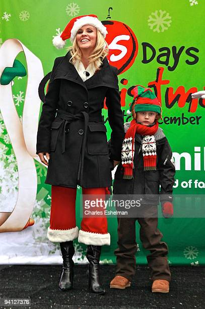 Actress Jenny McCarthy and son Evan Joseph attend the ABC Family's world record elf party at Bryant Park on December 7 2009 in New York City