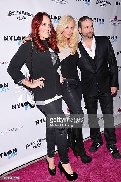 Actress Jenny McCarthy arrives with sister Jo Jo and fashion designer Danny Guez at Nylon Guys magazine's release party for their November issue at...