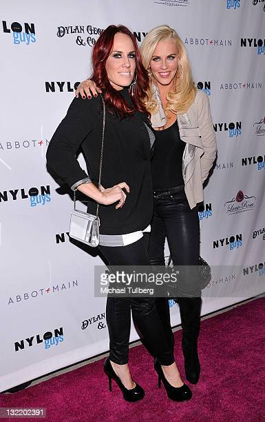 Actress Jenny McCarthy arrives with sister Jo Jo McCarthy at Nylon Guys magazine's release party for their November issue at The Beverly restaurant...
